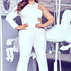 *NEW* PLT White jumpsuit with side cutout
